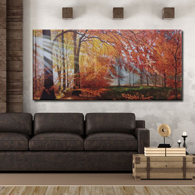 Autumn landscape painting with trees in warm toasted tones painted by hand