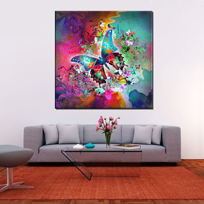 Modern colourful abstract butterfly painting printed on canvas