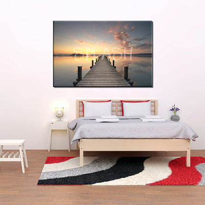 Picture of marina with dock at sunset printed on canvas