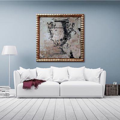 classic vase painting printed on canvas with gilded frame for living room