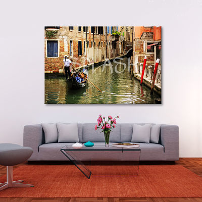 Venetian Canal painting with gondolier gondola between buildings printed on canvas for living room