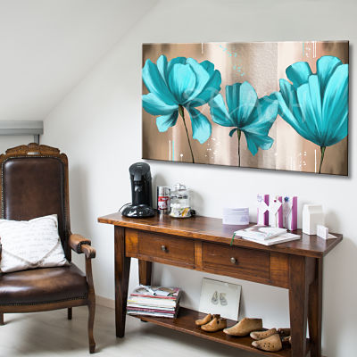 Modern hand-painted picture of turquoise flowers on a sepia beige background with texture