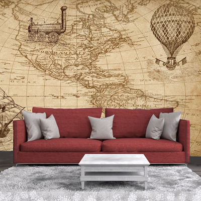 Vinyl picture with Mapa Mundi in brown vintage sepia for wall decoration in living room