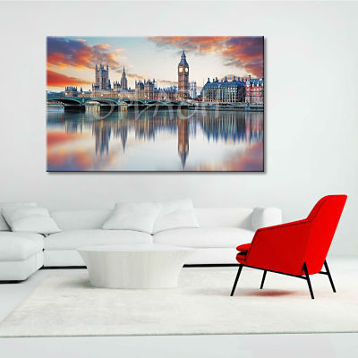 London skyline painting at sunset with Parliament Tower and bridge printed on canvas