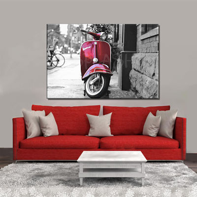 Vintage black and white painting with cherry red Vespa printed on canvas