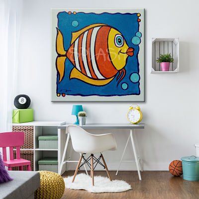 Modern picture for babies and toddlers with yellow, orange and blue fish