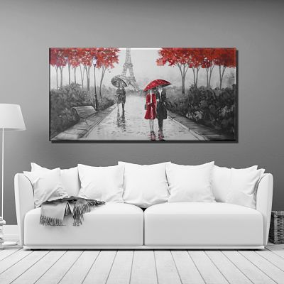 Parisian painting with a scene of a couple walking with a black and white and red umbrella, original hand painted Splash