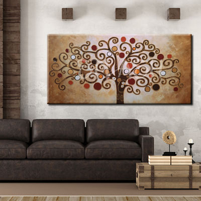 Hand painted Tree of Life paintings inspired by Klimt varied textures and colors for interior decoration