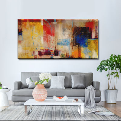 Original large geometric abstract painted painting in warm tones