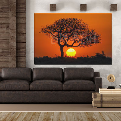 Ethnic painting of African landscape with orange sunset tree printed on canvas