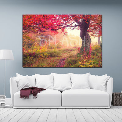 Landscape painting printed on canvas with tree in autumn red