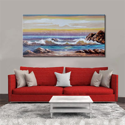 Pictures of marine landscapes Waves, beaches and sunsets at sea painted and printed