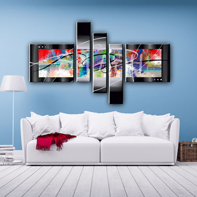 Avant-garde modular multiform abstract painting of 5 pieces hand painted for living room