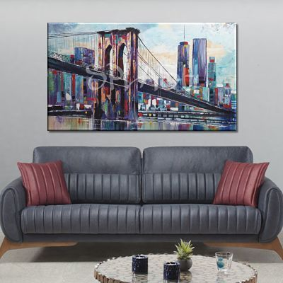 Modern skyline painting of New York painted with colorful Brooklyn Bridge from Madrid, Venice, London, Paris and various cities
