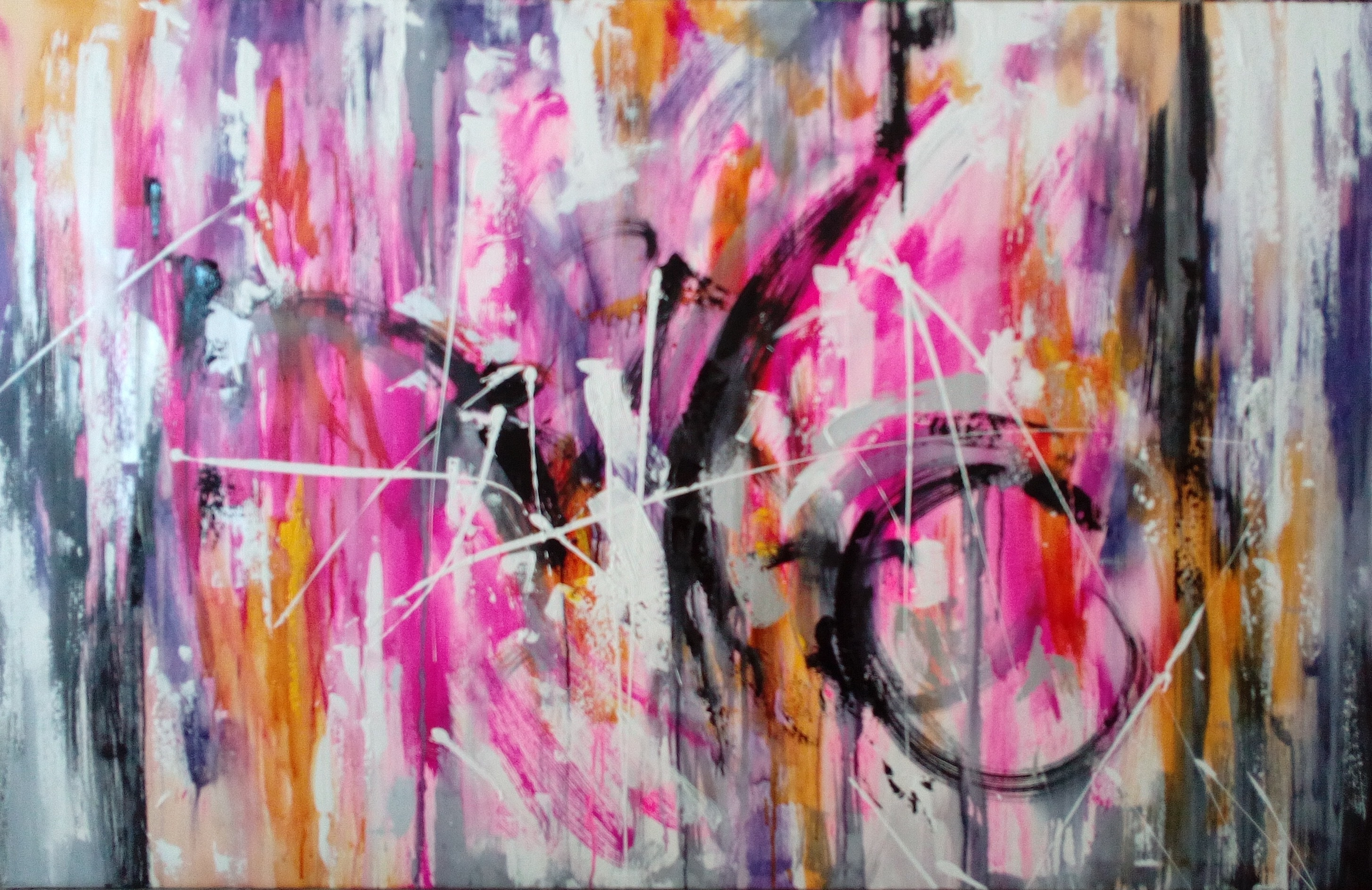 SP009-Colorful abstract painting painted by hand in magenta tones with texture