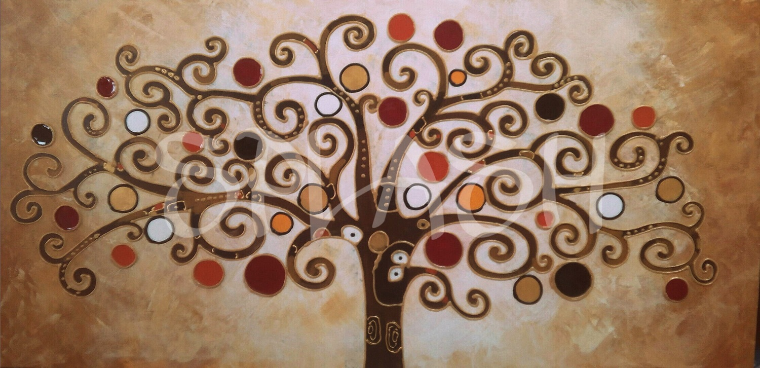 painting of the tree of life in shades of sienna brown and gold with liquid crystal details