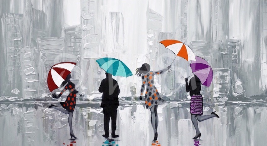 SP854-Figurative painting with silhouettes and people with coloured umbrellas in the rain and an abstract urban background