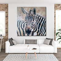 Painting of ethnic animals with a pair of zebras in black and white with brown and sienna touches for salon